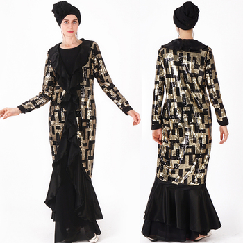 Muslim Cardigan Sequins Embroidered Lady's Gown
