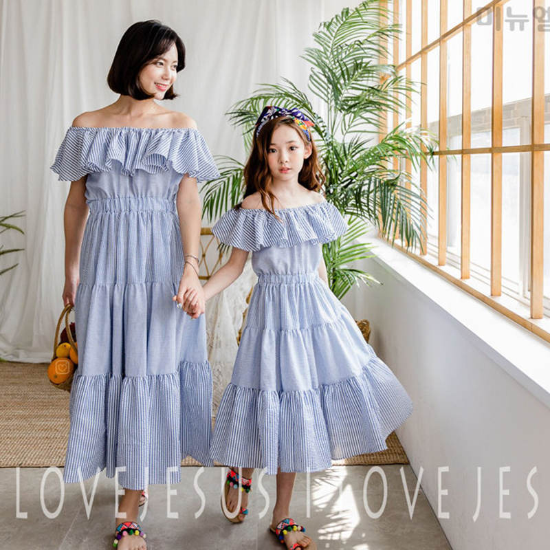 Princess Maxi Dress Mother and Daughter Sisters Clothing Off-shoulder Striped Cotton Dre ...