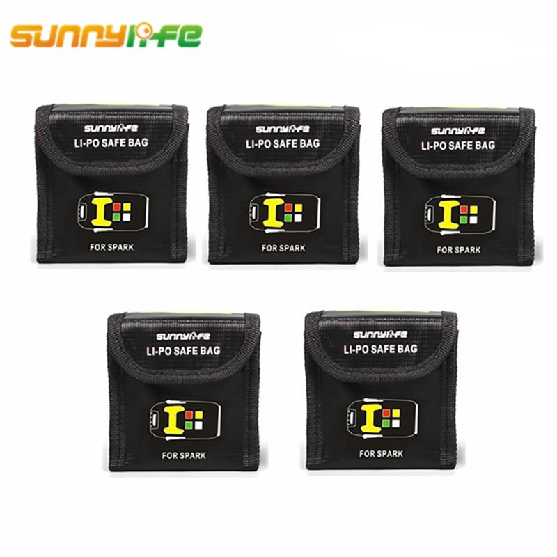 5pcs Lipo battery Fireproof storage bags explosionproof Protector safe Box Heat Resistance Radiation protection Pocket DJI Spark