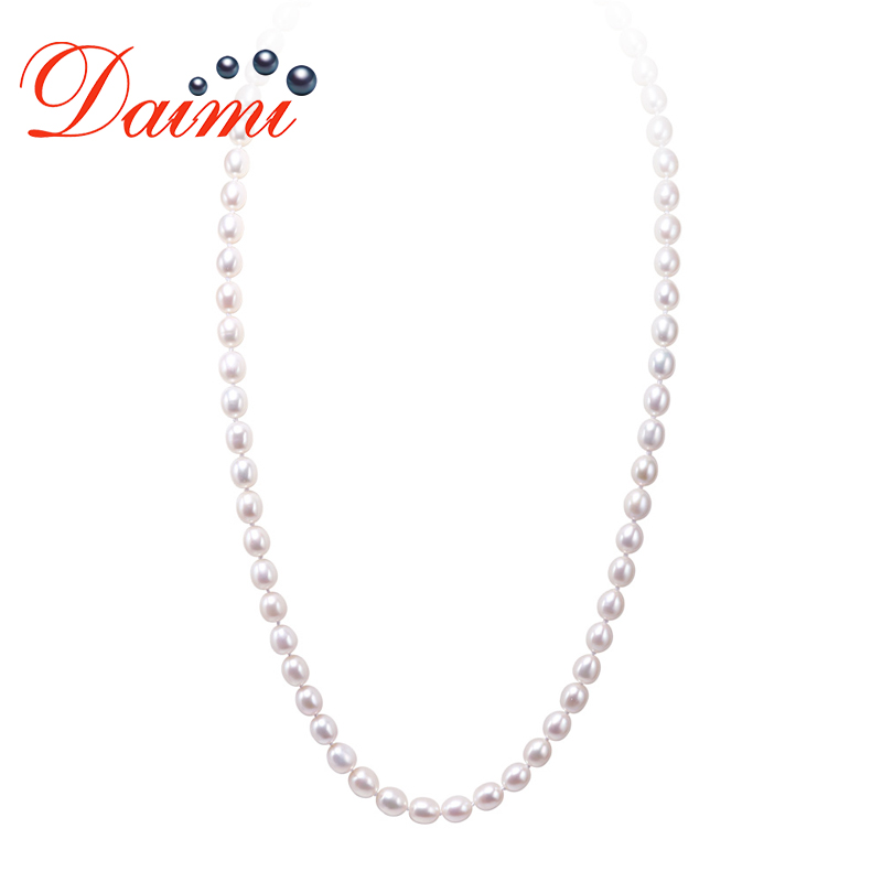DAIMI Long Necklace Cultured Pearl Necklace 6-7mm Rice Pearl Necklaces for Big Neck Anniversary Gift White Black Color цена и фото