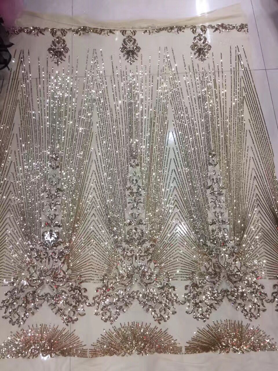 Guipure Embroidery Lace Fabric On Sale Gold Sequin Fabric Material Mesh Polyester African Clothes Gold Sequin