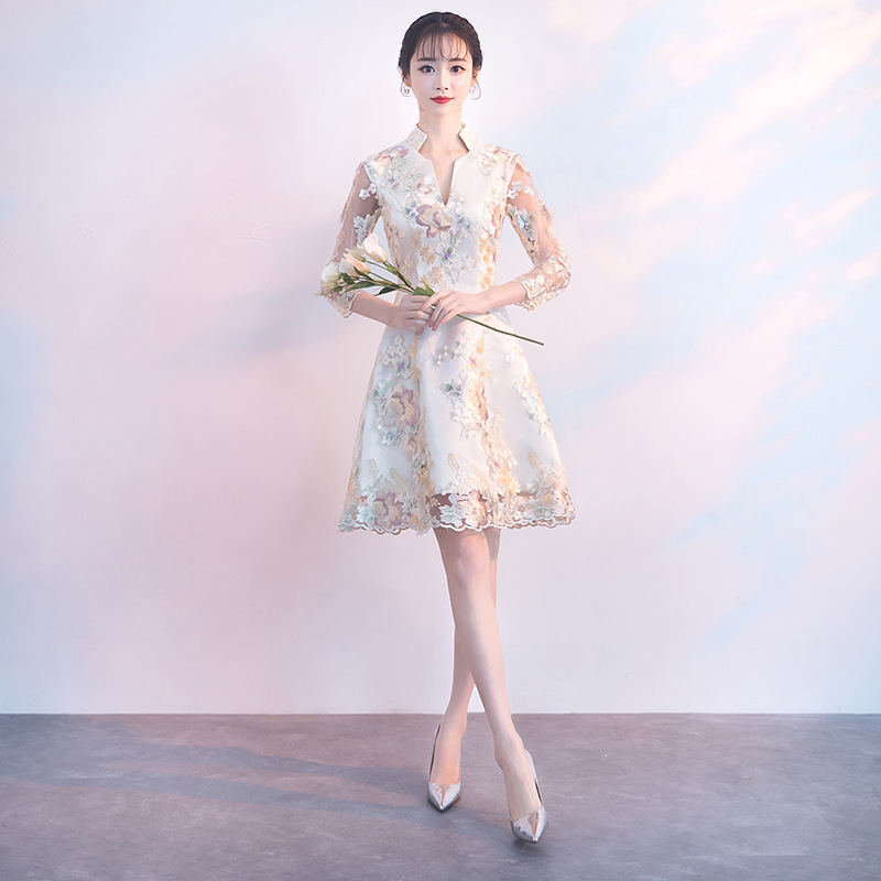 Chinese Style PLUS SIZE 3XL Satin Female Vestidos Sexy Fit And Flare Mini Women Cheongsam Elegant Party Prom Dress Qipao
