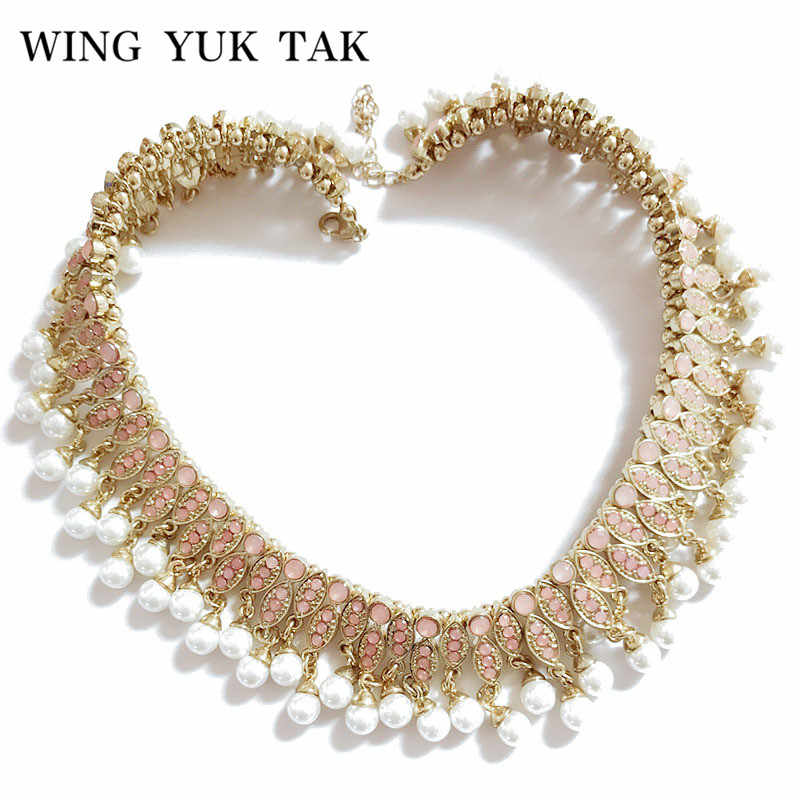 wing yuk tak Brand Necklace Fashion Jewelry Classic Beads Chain Statement  Simulated Pearl Choker Necklace Crystal dc3329168e97