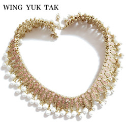 wing yuk tak Brand Necklace Fashion Jewelry Classic Beads Chain Statement Simulated Pearl Choker Necklace Crystal For Woman
