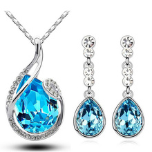 цены 2014 new arrival fashion wedding wholesales 18KGP austrian Crystal water drop jewelry sets fashion necklace earrings set 80046