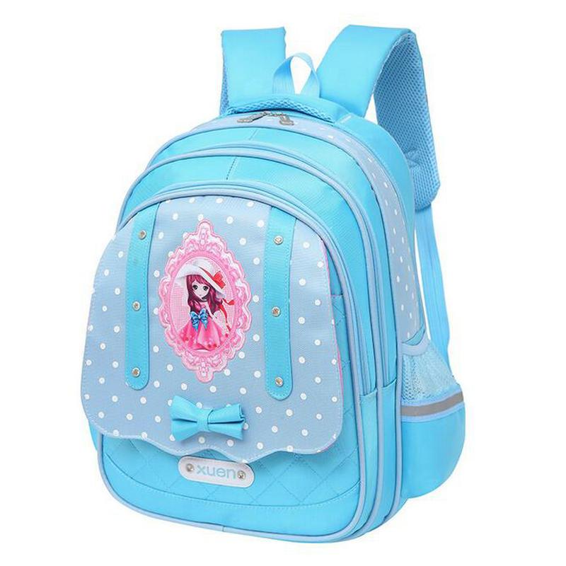 New Korean primary school bag Girls polka dot Schoolbag 1 - 3 - 6 grade minus backpack burden spine princess children backpack