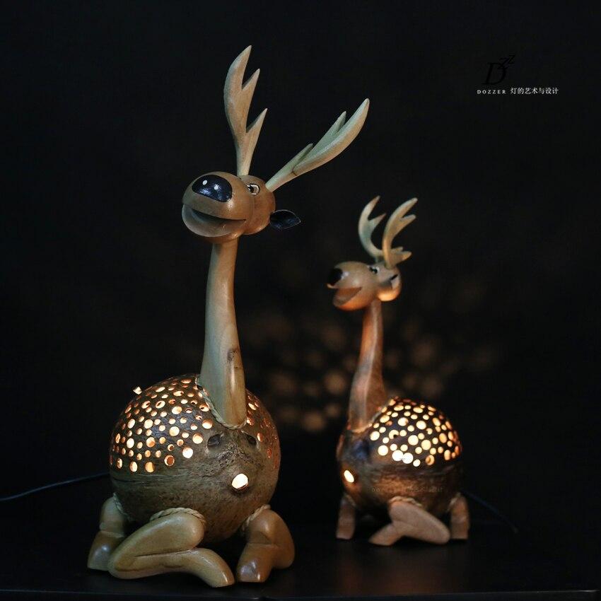Handmade table lamp creative coconut shell cartoon cute little deer children 's house window decoration Decorative lamp TA91812 swatch children s table children s day presents owl zfbnp063