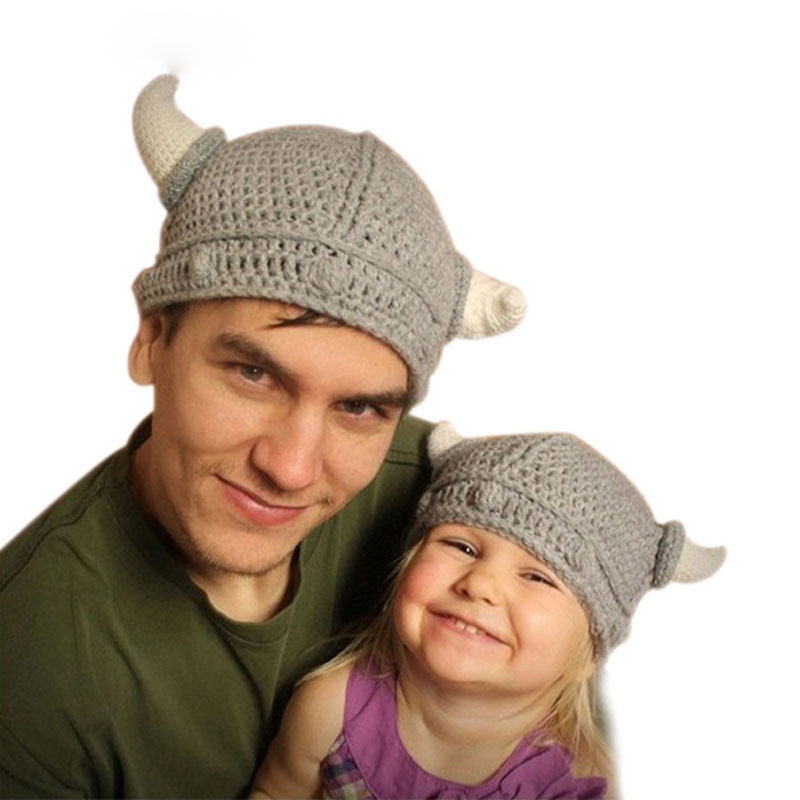 Ideacherry Children's Winter Novelty Hat Handmade Crocheted Viking Horns Hats Knitted Kids   Skullies   Caps