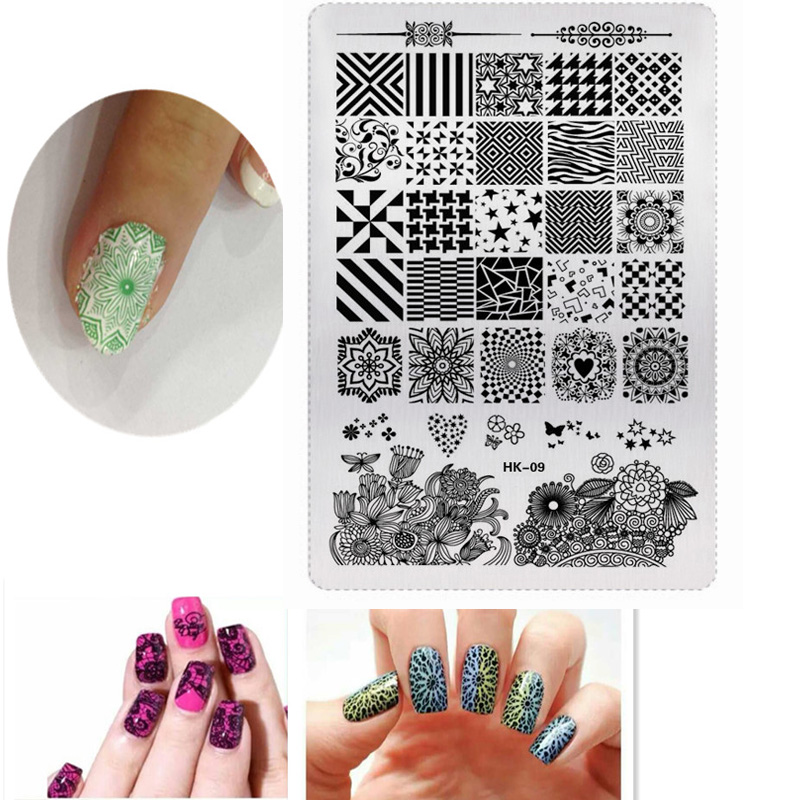 Nails Art & Tools Beauty & Health 1pcs Rectangle Hk-01 Nail Art Stamping Plate Lace Flower/animal Pattern Manicure Image Template Diy Nail Stencil Nails Tool