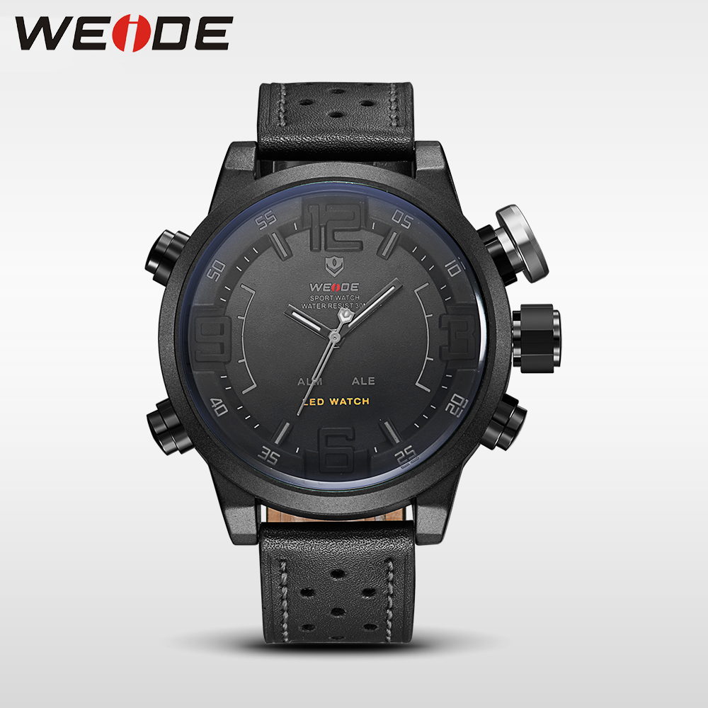 WEIDE Watch Men Sport Water Resist Black Leather Strap LED Display Auto Date Quartz Wristwatches masculino clock relojes hombre weide casual genuin new watch men quartz digital date alarm waterproof fashion clock relogio masculino relojes double display