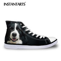 INSTANTARTS Vulcanize Shoes Women Casual Flats Shoes Cute Pet Dog Print Lace Up High Top Canvas Shoes Border Collie Sneakers