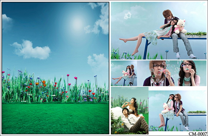 Vingtage Photography Backdrops Outside View Spring Photo Background for Kids Green Glass with Blue Sky Background Newborn Baby