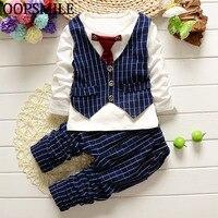 Spring Autumn Baby Boys Clothes Bebes Suits Infant Newborn Clothes Sets Kids Vest Necktie T Shirt