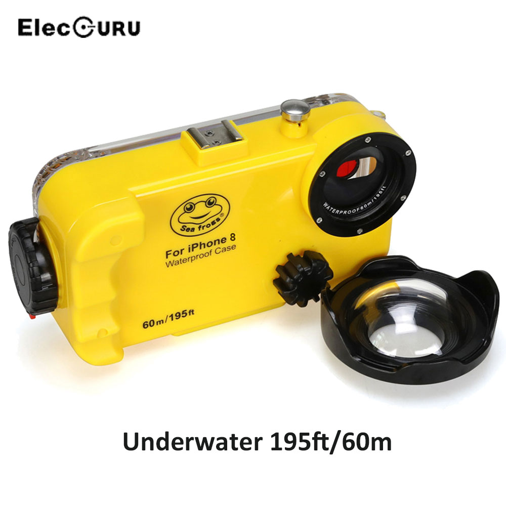 for iPhone 8 195ft/60m Underwater Diving Phone Housing Case Waterproof Snorkeling Diving Case with Wide Angle Lens Hand Strap