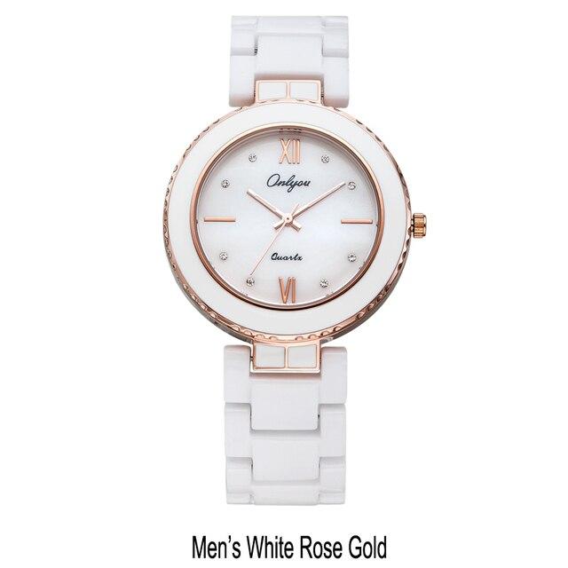 Ladies Bracelet Watch White Ceramic Watches Onlyou Luxury Brand Men Women Wristwatches Quartz Watch Rose Gold Female Clock 8831