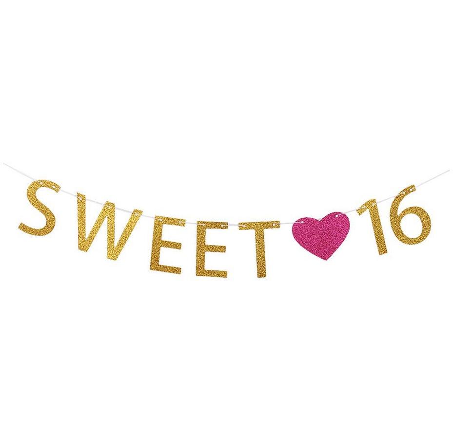 Sweet 16 Glitter Gold Letter Pull Flower Birthday Pull