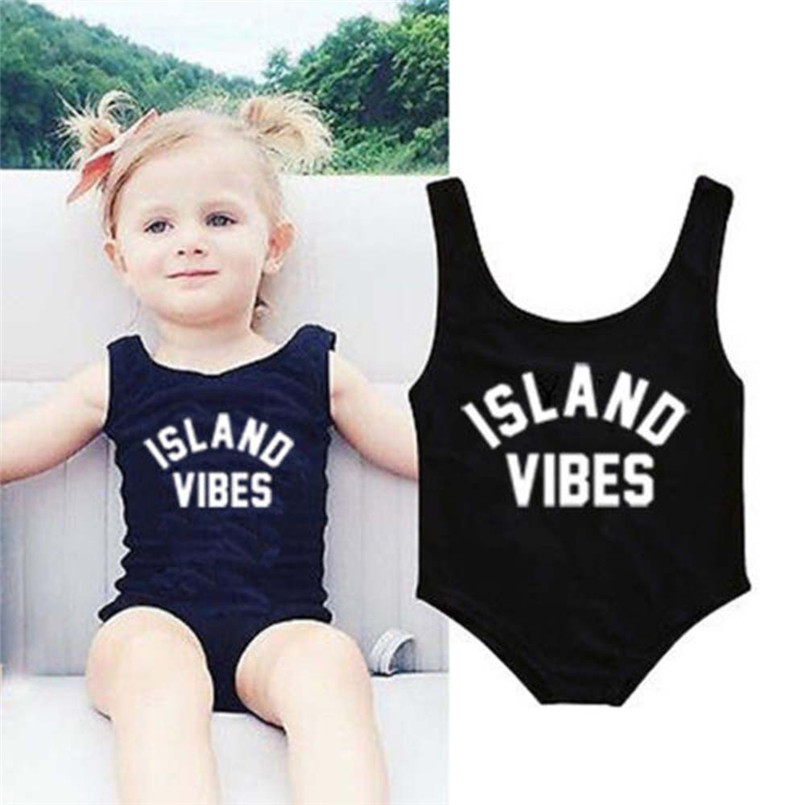 2018 Hot Sale Baby Swimwear Newborn Toddler Girls Solid Letter Print One Piece Swimsuit Swimwear Clothes maillot de bain fille S