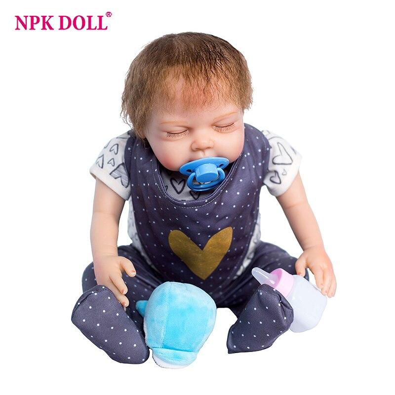 50 cm Boneca Bebe Reborn doux corps dormir reborn bébé bambin poupée Silicone Vinly vivant garçon bébé poupées enfants cadeau d'anniversaire