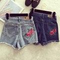 Altos Calções de Cintura Solta Flor Fêmea Nova Coreano Moda Flash Subiu Bordado Todo o Jogo Shorts Jeans