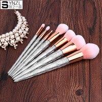 7Pcs Makeup Brush Set Glitter Foundation Powder Makeup Brushes Transparent Handle Make Up Eyeshadow Blending Brush