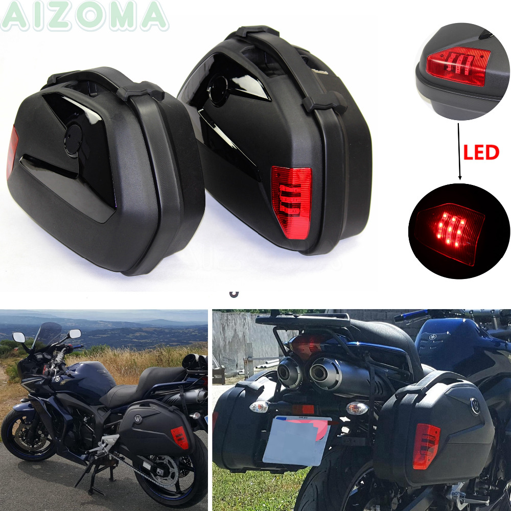 1 Pair 20L Side Pannier Luggage Box w/ LED Motorcycles Cargo Storage Tail Case for Kawasaki Triumph Yamaha Tracer 700 900 08-19