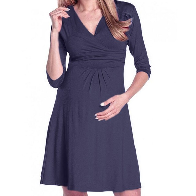 clothes for pregnant Women's Pregnancy V Collar Dress Maternity Summer Solid Color Sundress Daily Clothes roupa para gravida