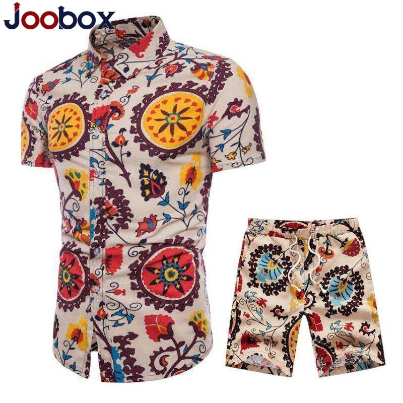 2019 Summer Men's Casual Set Cotton Linen Mens Clothes Floral Shirt Beach Shorts Print Shirts Shorts Pants Two Piece Suit 5XL
