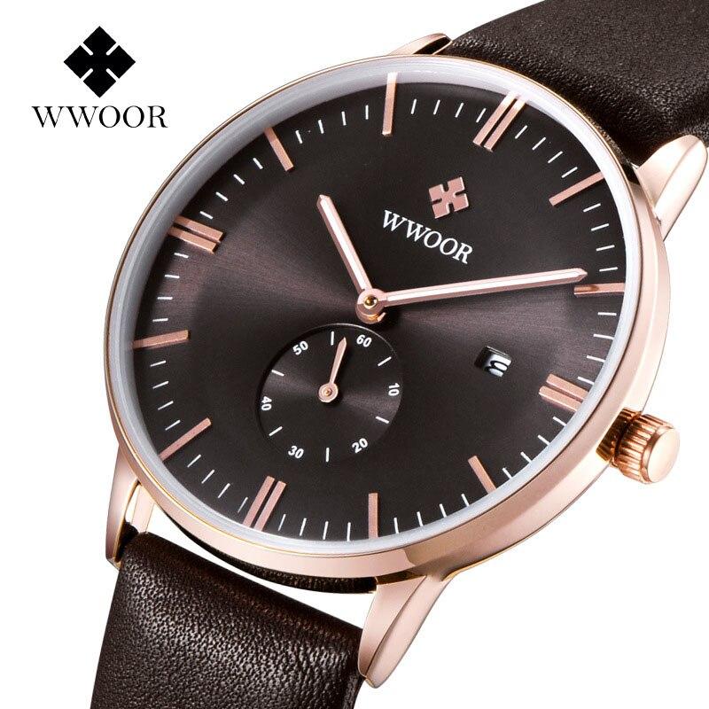 Brand wwoor Men's watches quartz-watch Watch men quartz watch vintage calendar Luxury relogio masculino Genuine