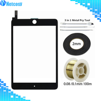 For ipad mini 4 Touch screen digitizer Glass Panel For ipad mini 4 A1550 A1538 & 2mm Black Tape & Gold Molybden Wire & Pry Tools