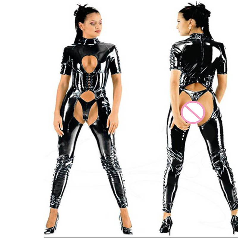 Sexy Women Latex Catsuit Short Sleeve Shiny Tights Faux Leather Fetish Wet Look Skinny Wet Look Zentai Hollow Out Black Jumpsuit