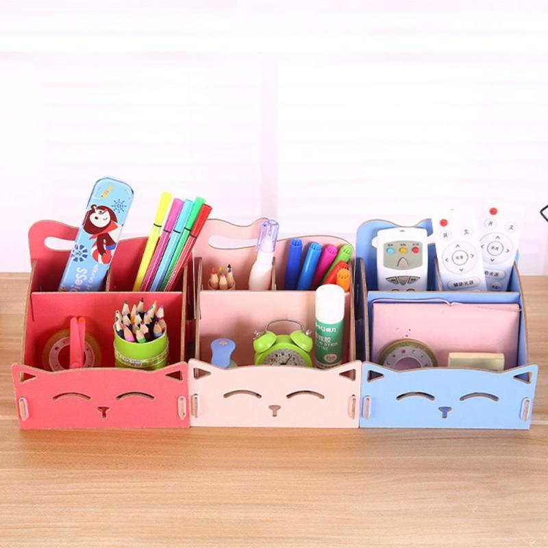 Cat Shape Wooden Storage Box Debris Makeup Organizer Jewelry Box Organizador Desktop Storage Decorations Rangement S3