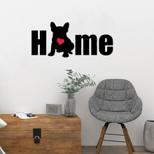 Dog Silhouette Word Home Wall Sticker French Bulldog Wall Stickers Pet Puppy Entryway Poster Mural Cute Animal Decor Decals W18