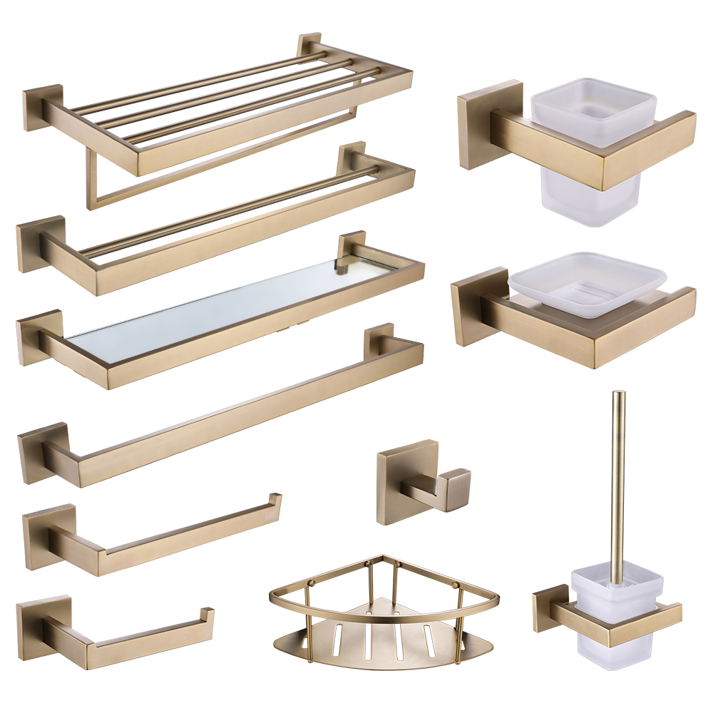 Free Shipping Bathroom Accessories Brushed Gold Stainless Steel Dish Rack Towel Rod Towel Ring Bathrobe Hook Paper Towel Rack