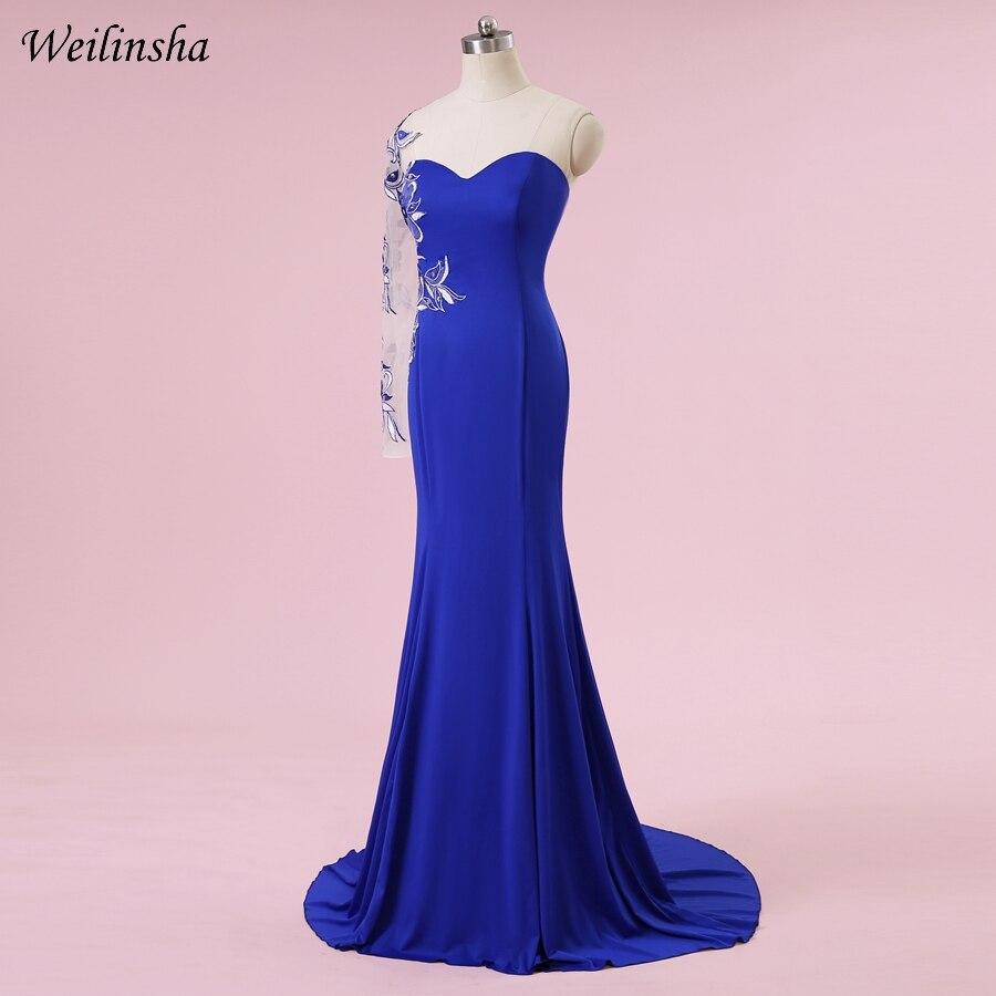 Weilinsha Plus Size Mermaid Kjole En Skulder Royal Blue Sexy Broderi - Spesielle anledninger kjoler - Bilde 3