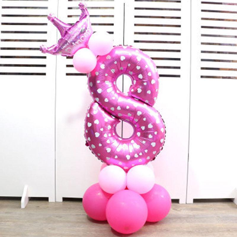 32-дюймовый Цифровой шар детское платье для дня рождения с рисунком надувной детский День рождения украшения вечерние шляпа воздушный шар для колонны игрушка - Цвет: Pink number 8