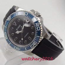 лучшая цена Sapphire Crystal BLIGER 40MM Black Dial Men's Watch Ceramic Bezel Rubber strap Automatic Movement Luminous Wristwatch