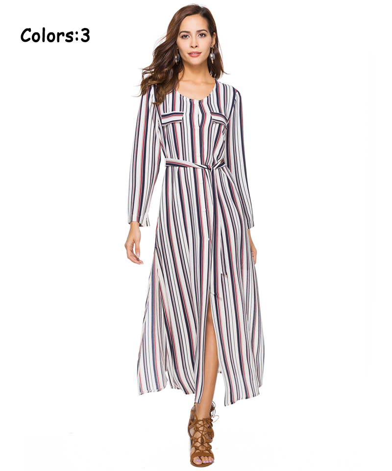 Women Summer Boho Maxi Dresses Large Size Elegant Casual Bohemian Long Stripe Dress Aline Plus Size 2018 Spring 12