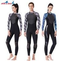 DIVE&SAIL Men Women One piece Camo Wetsuits 3mm Neoprene+Shark Skin+Lycra Swimming Surfing Diving Suits High Elastic Swimwear