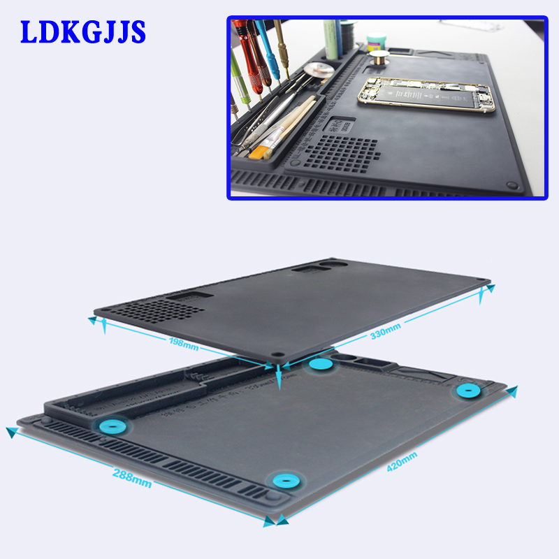 Anti-static Electronic Maintenance Platform Table Pad ESD Heat Insulation Silicone Mat For Phone BGA Soldering Repair Tools square shaped absorbent anti slip heat minus insulation mat pad for dishware cup green