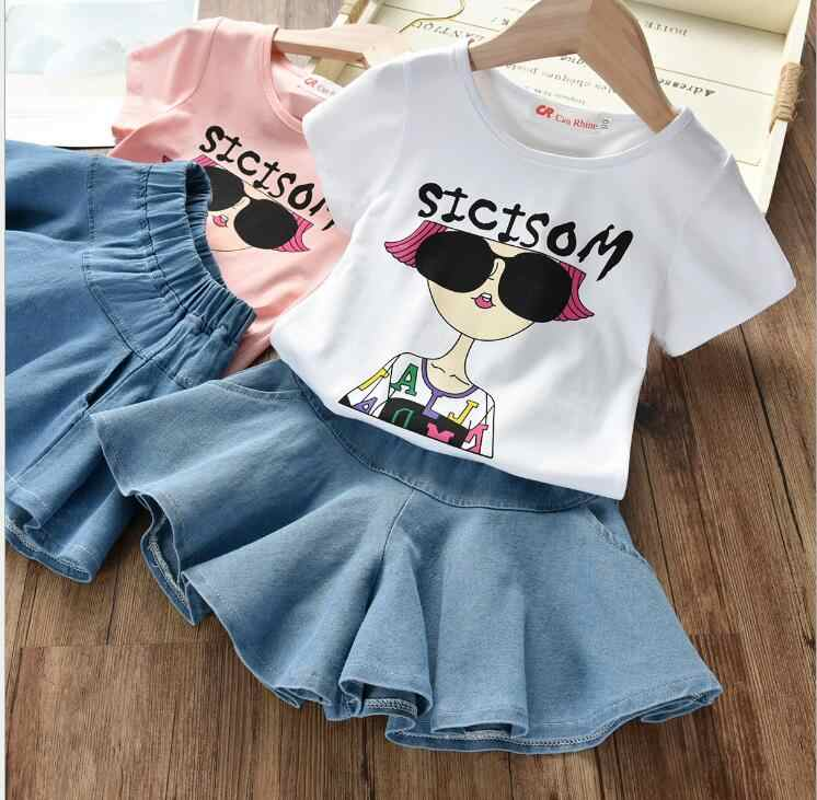 2019 Новая модная детская одежда, костюм с короткими рукавами для девочек, Корейская версия рубашки, шорты, юбка, тонкий женский комплект из двух предметов