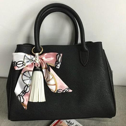 New Elegant Fashion Satin Silk Bowknot PU leather Tassel Keychain Key ring For Women Bag Charms Accessories Llaveros 13colors