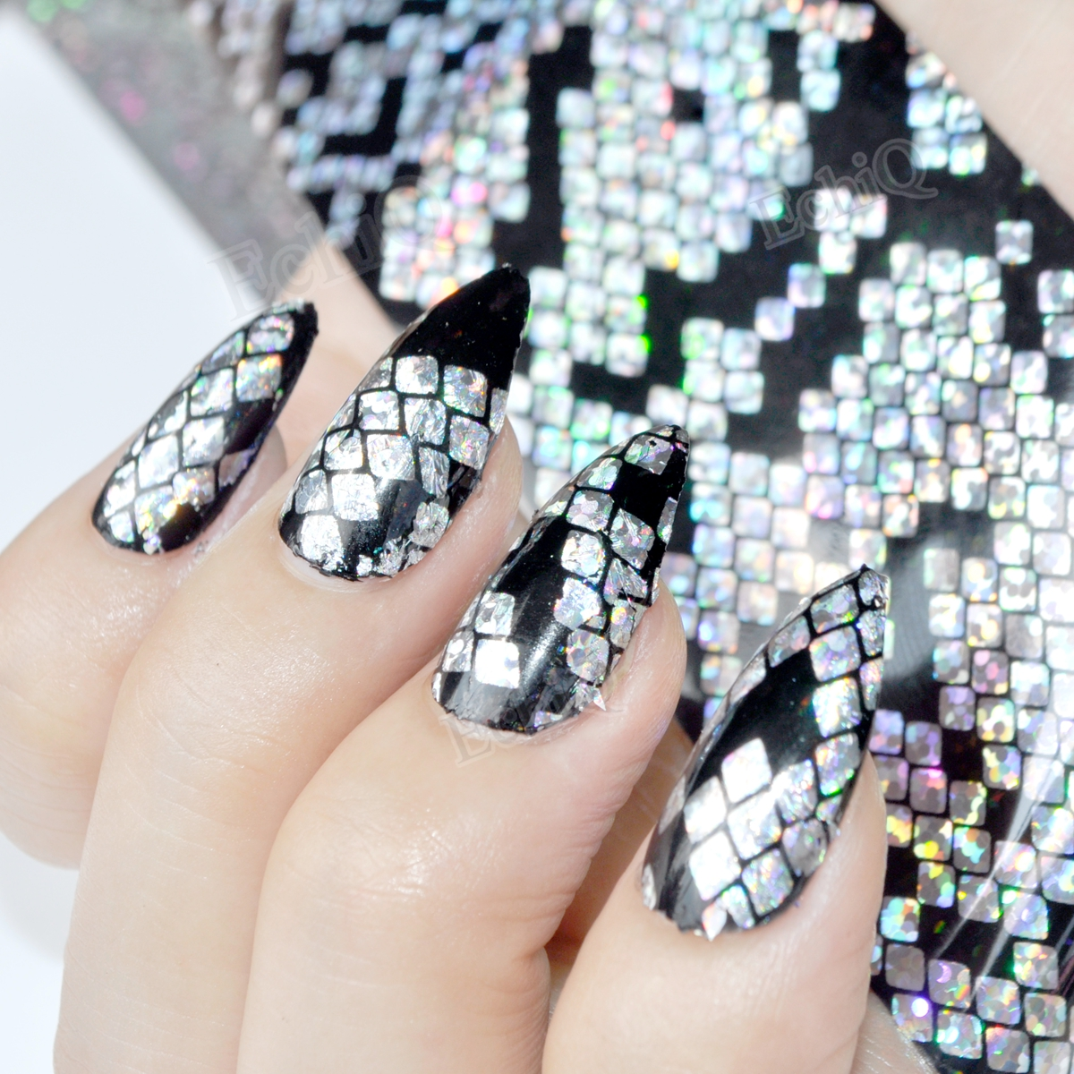 Fashion Nail Foils Holographic Snake Skin Pattern Laser Colorful ...