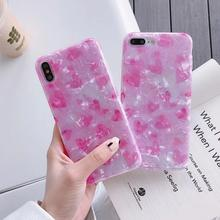 Pink Crystal Crack TPU Soft Case For iPhone XR X XSMAX Heart Pattern Shockproof Cover 6 6s 7 8 6PLUS 7PLUS Female