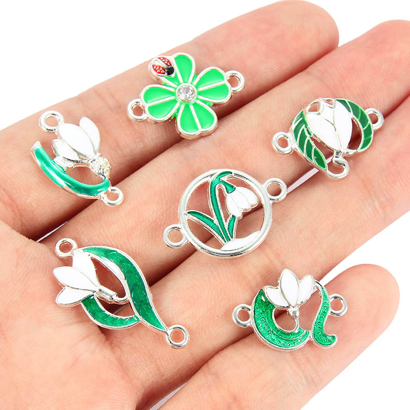 10PCS Mixed Style Enamel Green Plant Flower Leaf Charms Connector For Women Girls DIY Necklace Bracelet Jewelry Accessories