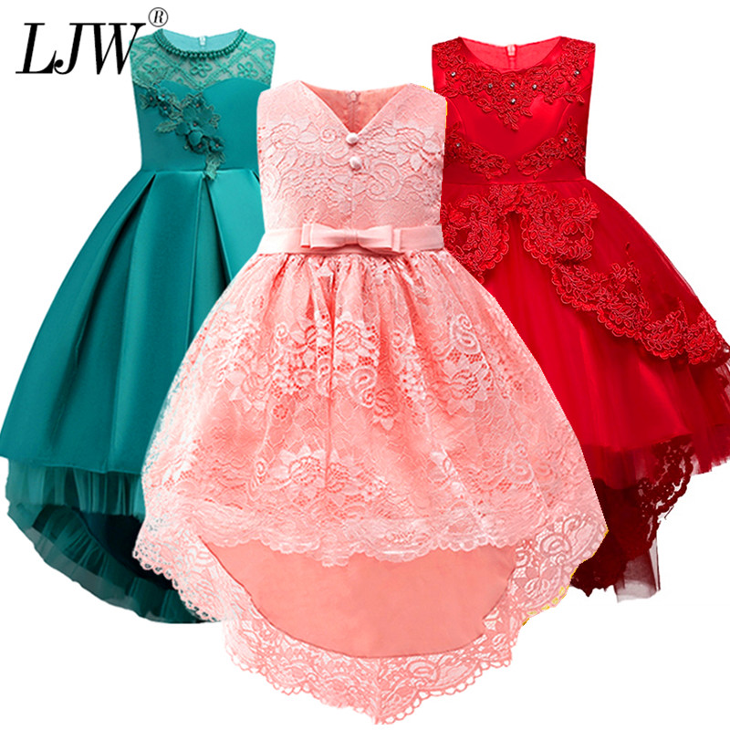 2018 Sale Real Kids Girls Elegant Wedding Flower Girl Dress Princess Party Pageant Formal Long Sleeveless Lace Tulle 2-14 Y lace teenagers kids girls wedding long girl dress elegant princess party pageant formal dress sleeveless girls clothes flower