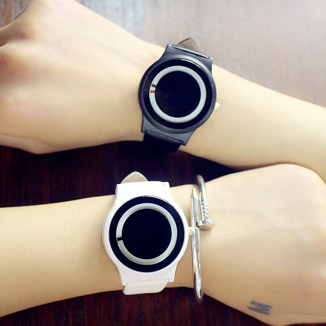 Couples Watch Harajuku Style Clock Candy Color PU Leather Strap Quartz Wrist Wat