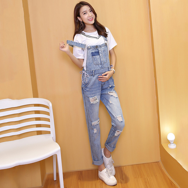 e013d6d2404 Denim Jeans Maternity Suspender Trousers For Pregnant Women Dungarees  Clothes Prop Belly Pants Pregnancy Clothing Hole Overalls