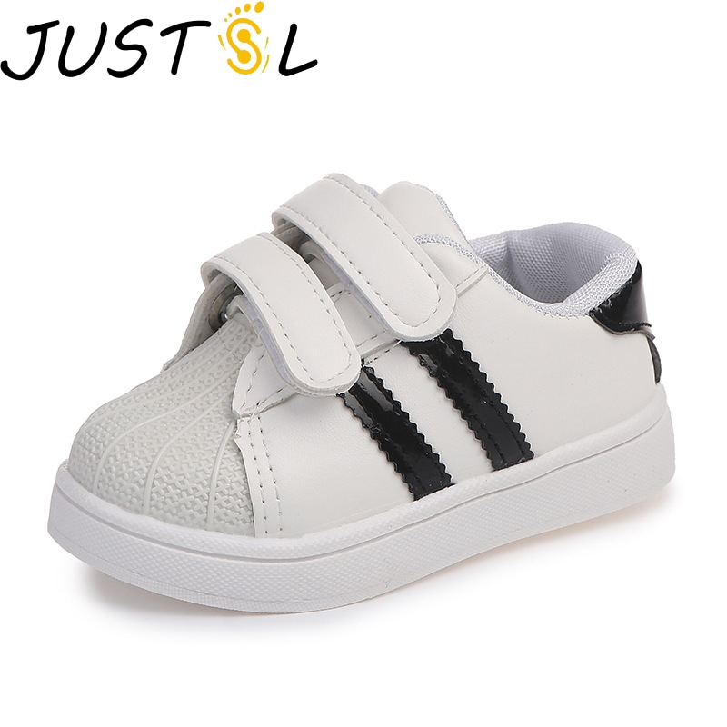 JUSTSL 2018 Spring Summer Children's Fashion Sneakers New Boys Girls Sprt Shoes Shellfish Sneakers Casual White Shoes For Kids