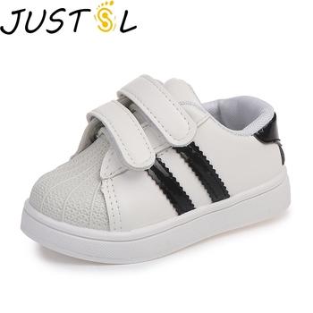 JUSTSL 2020 wiosenne letnie trampki dziecięce nowe chłopięce dziewczęce sprt buty skorupiaki trampki na co dzień białe buty dla dzieci tanie i dobre opinie RUBBER Pasuje prawda na wymiar weź swój normalny rozmiar 35 M 30 M 25 M 31 M 26 M 27 M 32 m 33 M 28 M 24 m 29 M 34 M