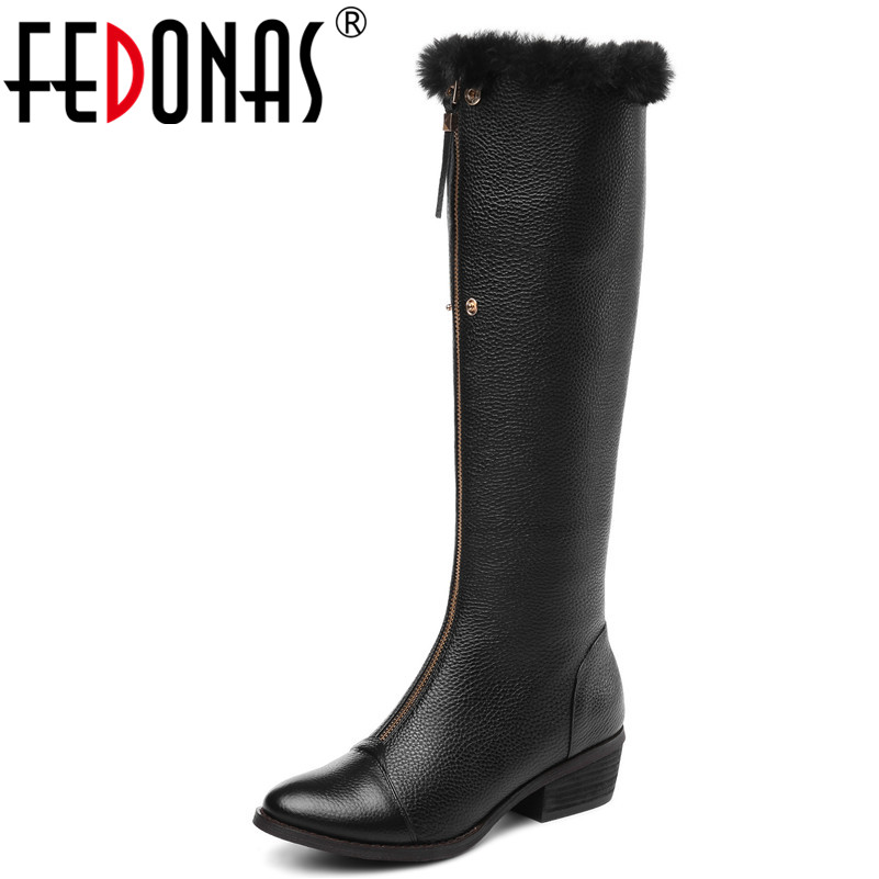 FEDONAS New Brand Women Knee High Boots Round Toe High Heels Warm Winter Snow Boots Ladies Long Motorcycle Boots Shoes Woman стоимость